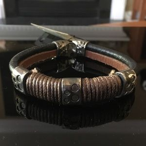 Two-Tone Leather and Silver Bracelet
